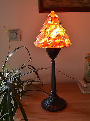 Antique CZECH ART DECO 1920's Table Nightstand Lamp Spatter Glass Shade