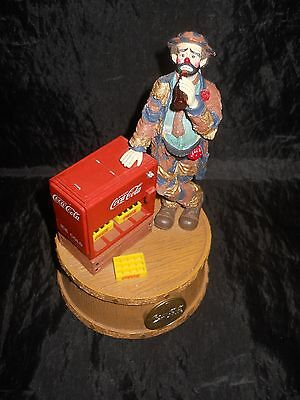 """Limited Edition """"At The Red Cooler"""" Emmett Kelly Coca Cola Musical Figurine"""
