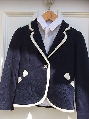 Navy Jacket And White Tie aged 3/4