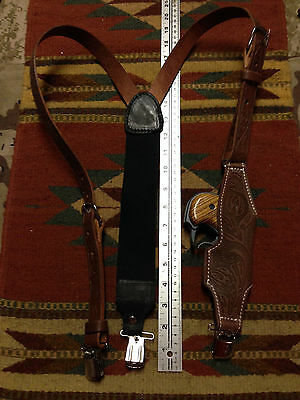 Western Style Brown Leather Suspenders Derringer Holster w/ Clips Cobra American