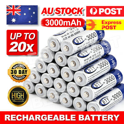 OZ 4-16X BTY AA Rechargeable Battery Recharge Batteries 1.2V 3000mAh Ni-MH