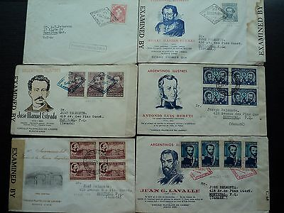 ARGENTINA FIRST DAY COVERS:  ALL CENSOR COVERS FROM 1940s.