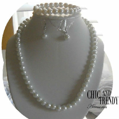 3 Pc Childrens Older Flower Girl Wedding White Pearl Necklace Jewelry Set Chic