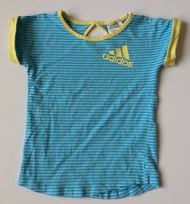 Adidas Girls 3 3T Blue Striped Top Yellow Trim