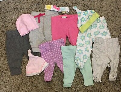Girls 0-3 Months Old Leggings And Hat Clothes Bundle X11