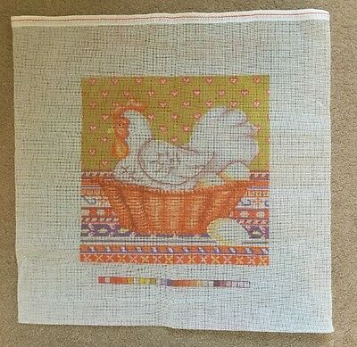 """CHICKEN IN BASKET"" Printed Tapestry Canvas -Unused"