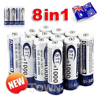 8 PCS BTY AAA Rechargeable Battery Recharge Batteries 1.2V 1000mAh Ni-MH OZ
