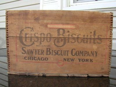 Antique Dovetailed Wooden Box Crate ~ CRISPO BISCUITS ~ SAWYER BISCUIT COMPANY