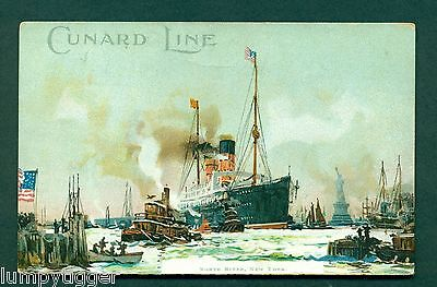 EARLY CHROMO,CUNARD LINE,NORTH RIVER,NEW YORK, vintage postcard