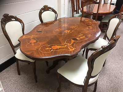 Stunning Italian Inlaid Dining Table And 4 Chairs 149 99