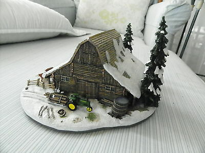 Danbury Mint THE LOG BARN With a Vintage John Deere Tractor Serial Number E7699