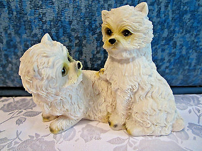 """West Highland White Terriers """"Westies"""" dog figurine resin 4"""" tall"""