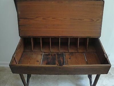 Antique 19th Century Southern Lift Top Plantation Desk, Heart Pine, Dovetailed.