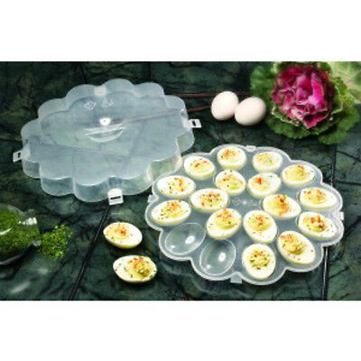 "Devilled Egg Server Set 2 New 10½"" Sturdy Plastic Tray Include Clip On Lid"