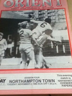 Orient v Northampton 1986-87 autographed by Lee Harvey and Paul Fishenden