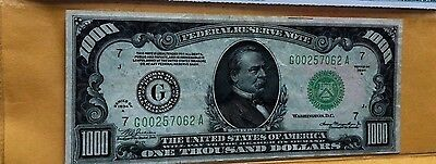 $1000 One Thousand Dollar 1934A Federal Reserve Note Cga45 Extremely Fine
