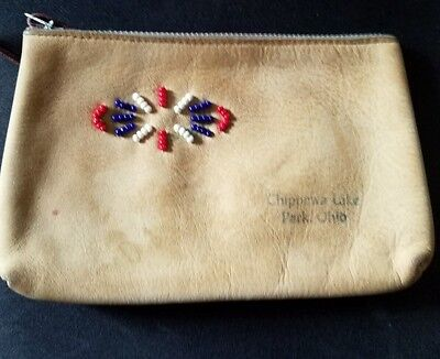Vintage Chippewa Lake Park Leather Beaded Coin Purse