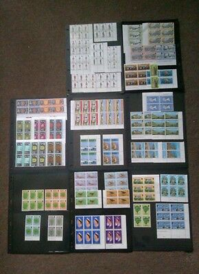 Guernsey decimal MNH stamp channel islands collection in blocks 8 pages of scans