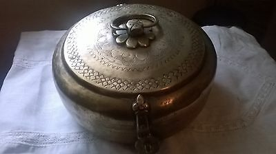 **Antique** Middle Eastern brass censer dish with hinged lid**