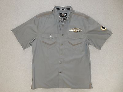 Genuine New Harley-Davidson Men's Short Sleeved Cotton Shirt. Grey. Size L