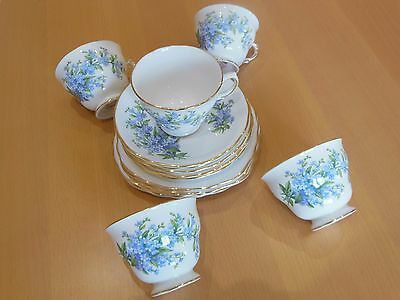 Royal Vale Bone China Cups/saucers/side Plates - Forget-Me-Not Design
