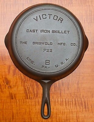Near Mint Cast Iron Victor No. 8 Skillet By The Griswold Mfg. Co. 722 Erie, Pa.