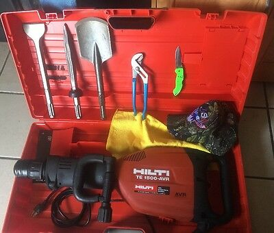 HILTI TE 1500-AVR BREAKER, PREOWNED, Free SPADE AND CHISELS -FAST SHIP-FAST SHIP