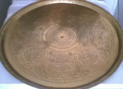 **Antique** Middle Eastern Brass Table Top tray**
