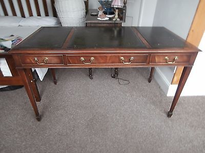 leather topped desk.  Antique style reproduction.