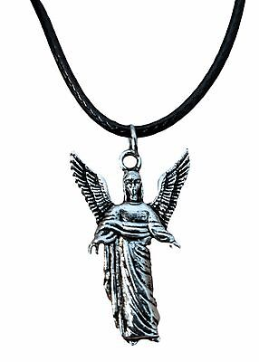Vintage Silver Archangel Gabriel Charm Cord Necklace - All Proceeds to GP Rescue