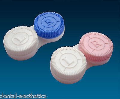Contact Lens Cases ~ 2 Colour Coded L&R, Soaking Lenses Storage Cases, Twin Pack