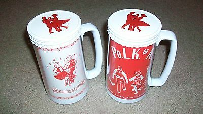 Pair Of Vintage Thermo Serv Polka Lovers Klub Of America Mugs Cups With Lids!