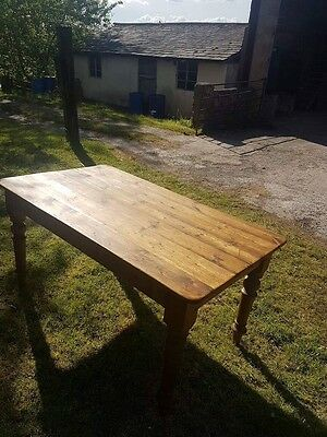 Pine Farmhouse  Dining Kitchen Table With Drawer