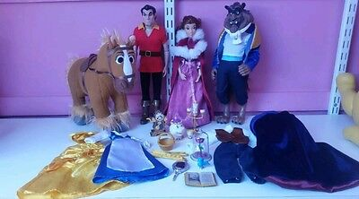 Disney store Beauty and The Beast deluxe Doll Set bundle disney princess lot
