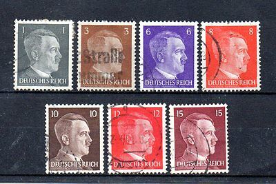 set of 7 used hitler stamps from germany