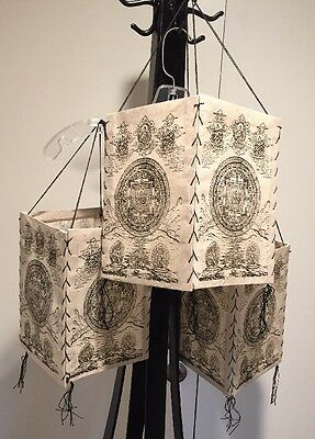 Set of 3 Indian Paper Lanterns with 4- 7 X 10 Inch Panels Stitched Together