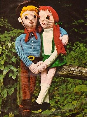 Vintage Crochet Doll Pattern Girl Boy Cowboy and Girl Stuffed Toy