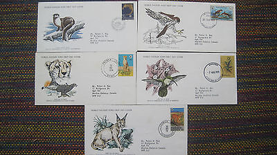 Beautiful WWF for Nature stamps/philately - First Day Covers - set of 5