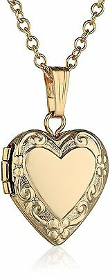 Childrens 14k Yellow Gold-filled Heart Locket Pendant Necklace, 15""