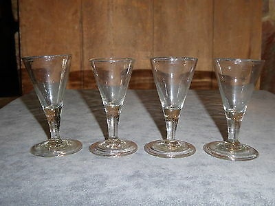RARE 1700s 18th CENTURY EARLY SET OF 4 SMALL CORDIAL WINE GLASSES FROM SOTHEBYS
