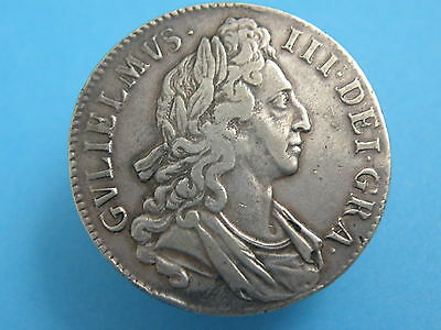 1696 King William III - SILVER CROWN COIN - OCTAVO EDGE - Good Grade