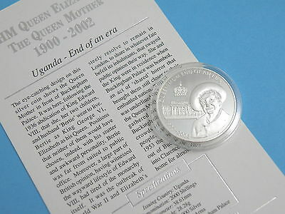 UGANDA - 2002 FINE SILVER PROOF 2000 SHILLINGS CROWN COIN - Queen Mother