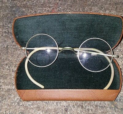 Vintage Antique ROUND Wire Rim Bifocal Glasses  with Case
