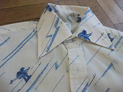 VTG 70s RETRO BOYS SHIRT SKI SKIER SKING BLUE CREAM LARGE COLLAR SHIRT 7/8 12""