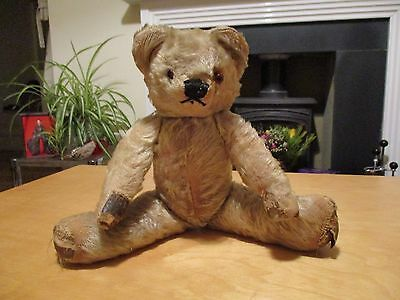 VTG 50s 60s CHAD VALLEY MOHAIR JOINTED TEDDY BEAR BLONDE GLASS EYES STRAW FILLED
