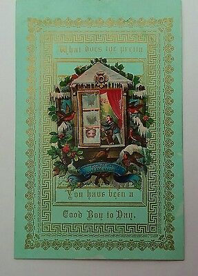 Pretty Victorian Christmas  Card to a Good Boy. Fold down, open window to scene.