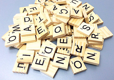 Wooden Scrabble Tiles Black Letters Tiles Crafts Wood Alphabets Toy UK seller