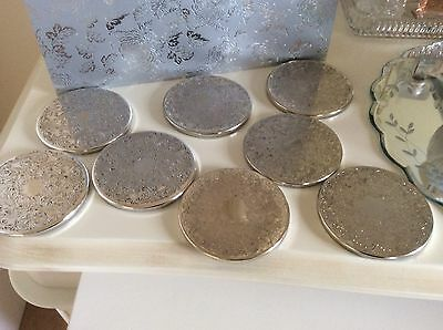 Vintage Set of 8 Silver Plated Coasters