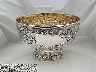 Rare George Iii Hm Sterling Silver Embossed Punch Bowl 1761