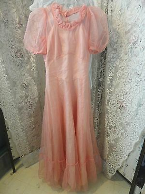 Vintage 1930's 40's Peach Ladies Formal Ball Prom Gown Dress